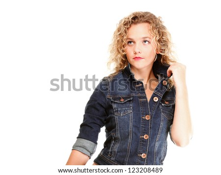Beautiful young woman blonde 20s in jeans shoulder bag isolated on white background Caucasian girl #123208489