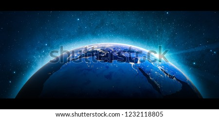 Europe mediterranean city lights from space. 3D Rendering. Stars my own photo. Elements of this image furnished by NASA #1232118805