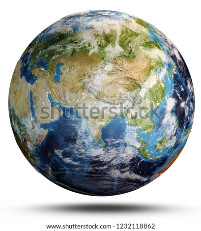 Planet Earth map. Elements of this image furnished by NASA. 3d rendering #1232118862
