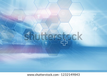 Abstract geometric hexagonal shape medicine and science background, suitable for healthcare and medical topics