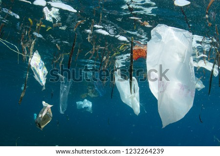 Plastic bags and other trash littered into the ocean from people float near the surface of the sea. #1232264239