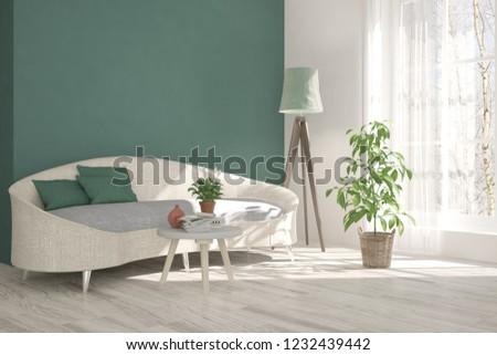 White modern room with sofa. Scandinavian interior design. 3D illustration #1232439442