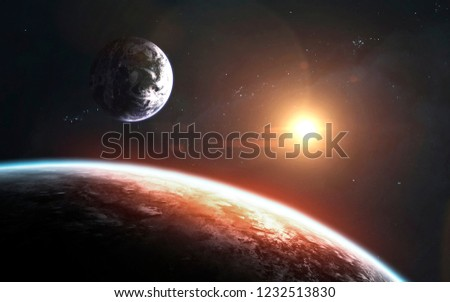 View of Earth planet from moon. Elements of this image furnished by NASA #1232513830