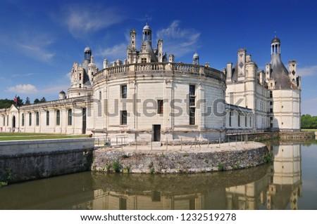 August 30, 2013. Chateau de Chambord royal medieval french castle. Loire Valley France Europe. Unesco heritage site.  #1232519278