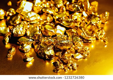 pure gold ore isolated on Reflection background. Group of precious golden stones, A piece of raw gold digged from the mine. #1232726380