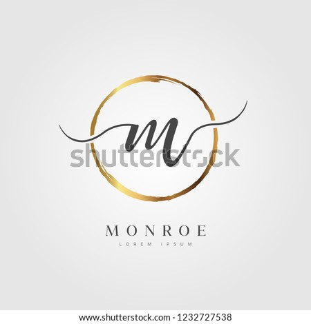 Elegant Initial Letter Type M Logo With Gold Circle Brushed Royalty-Free Stock Photo #1232727538