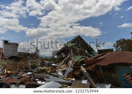 the impact of the earthquake and tsunami in Palu, Sigi and Donggala 2018. #1232753944
