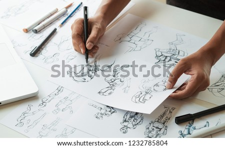Animator designer Development designing drawing sketching development creating graphic pose characters sci-fi robot Cartoon illustration animation video game film production , animation design studio. #1232785804