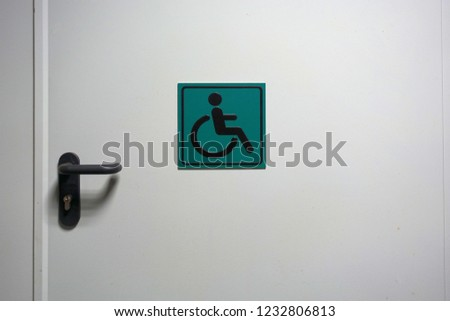 Disable person sign. Toilet icon for handicap. #1232806813