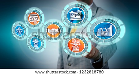 Merchant closing ESS deal via touch screen interface. Industry and business concept for financing opportunity of energy battery storage system, BESS, power project management, renewable electricity. #1232818780