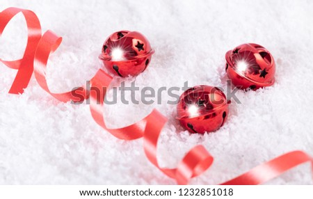Christmas bells in the snow, festive background #1232851018