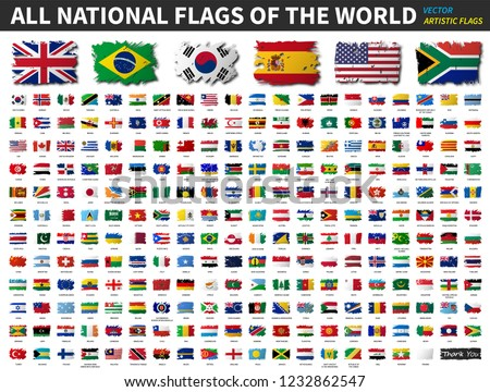 All national flags of the world . Artistic watercolor painting flat design . Vector . #1232862547