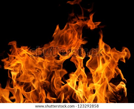 Fire flames isolated on a black background #123292858