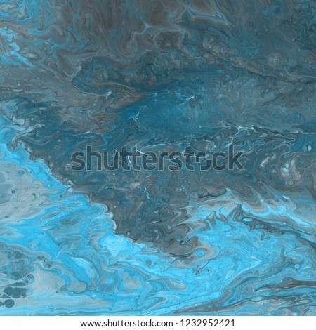 Acrylic blue abstract background with waves and strokes. Trendy look. Chaotic abstract organic design.         #1232952421