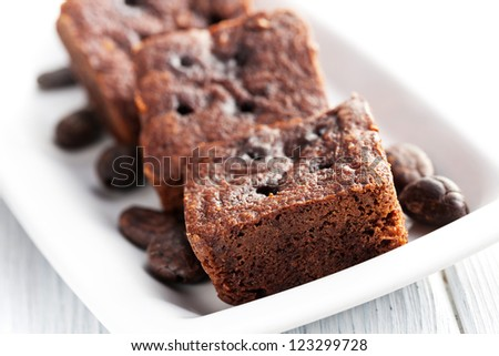 chocolate brownies dessert on white table #123299728