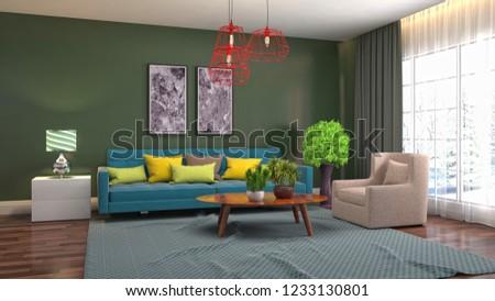 Interior of the living room. 3D illustration #1233130801