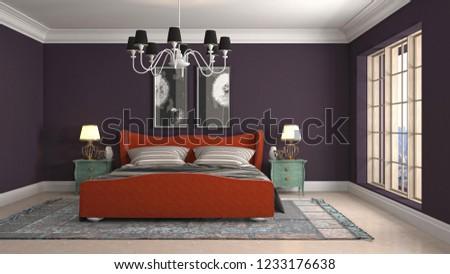 Bedroom interior. 3d illustration #1233176638