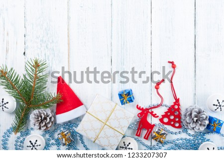 Christmas decoration frame background on old white wood table #1233207307