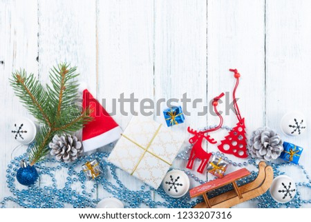 Christmas decoration frame background on old white wood table #1233207316