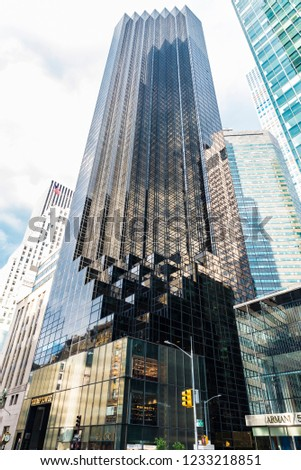 New York City, USA - July 28, 2018: Facade of Trump Tower in Fifth Avenue (5th Avenue) in Manhattan in New York City, USA #1233218851