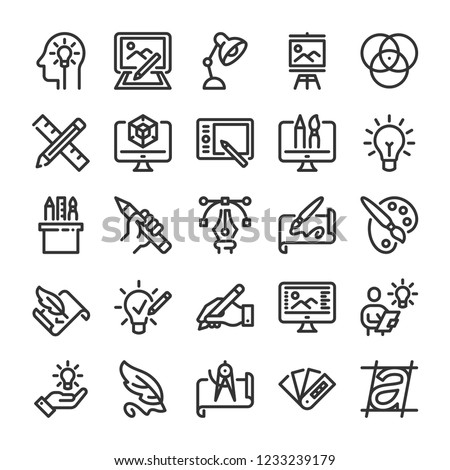 Design and drawing icons set. Line style