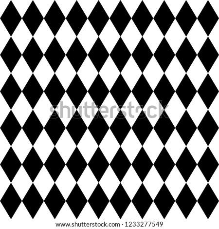 rhombus black and white geometric seamless pattern, vector illustration