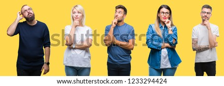 Collage of group people, women and men over colorful yellow isolated background with hand on chin thinking about question, pensive expression. Smiling with thoughtful face. Doubt concept. #1233294424
