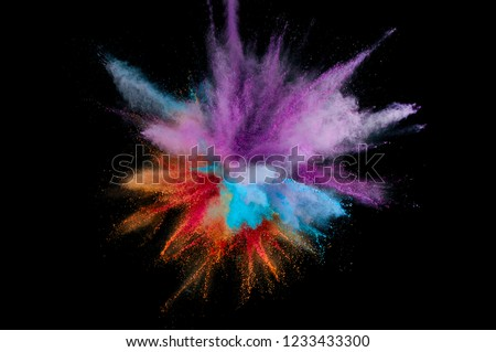 Colored powder explosion. Abstract closeup dust on backdrop. Colorful explode. Paint holi #1233433300