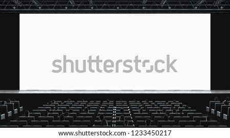 Cinema hall with auditorium watching movie on blank screen mockup. Empty monitor in film theater with viewers mock up. Premiere 3d showtime in theatre presentation template. #1233450217