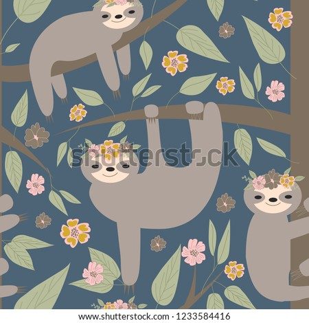 funny sloths hanging on the tree seamless pattern. Adorable cartoon animal background. Vector rainforest set of cute sloths, flowers, leaves