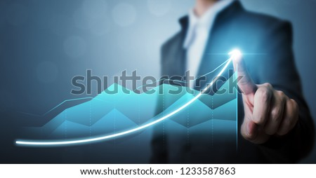 Business development to success and growing growth concept, Businessman pointing arrow graph corporate future growth plan #1233587863