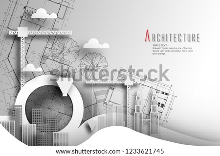 Architecture of eco and world environment day with Blueprint background.paper art style. Royalty-Free Stock Photo #1233621745