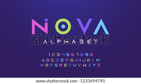 Colorful letters and numbers font set. Colored alphabet, typography modern color design concept. vector illustration #1233694741