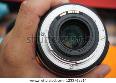 Malaysia, November 17, 2018 - Canon lens ready for service. electronic board. #1233765514