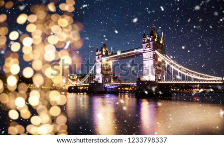 snowing in london, UK - winter in the city #1233798337