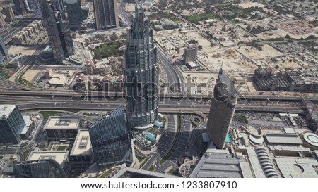 Dubai, UAE - April 09, 2018: Modern architecture Downtown Dubai view from the top #1233807910