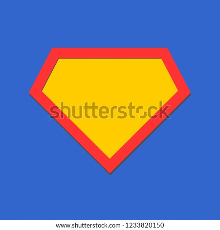 Comic hero icon, symbol shield. Isolated vector on blue background .