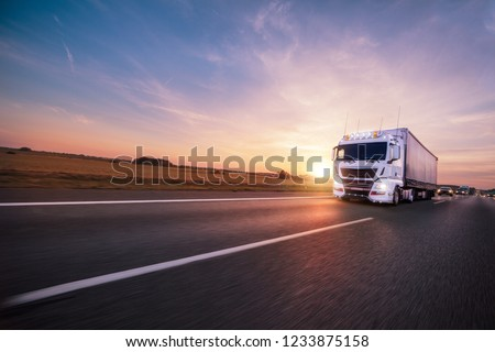 Truck with container on highway, cargo transportation concept. #1233875158