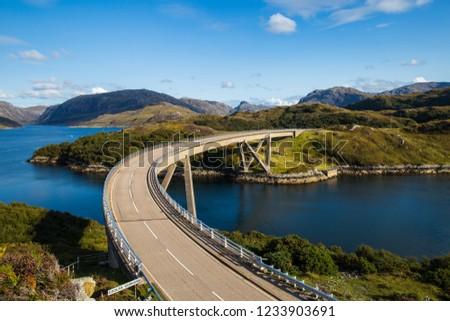 Kylesku Bridge, on the A894, Sutherland Scotland, Summer, Near Lairg, Ullapool, Kylestrome and Unapool, on the NC500, North Coast 500 #1233903691