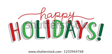 HAPPY HOLIDAYS hand lettering banner Royalty-Free Stock Photo #1233964768