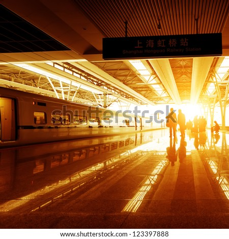 train stop at railway station with sunset #123397888
