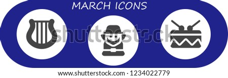 Vector icons pack of 3 filled march icons. Simple modern icons about  - Harp, Leprechaun, Drum #1234022779