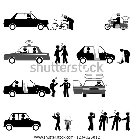 Traffic police control road safety and sobriety of drivers #1234025812