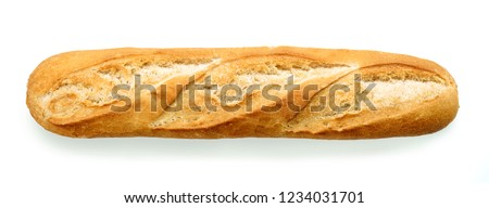 freshly baked baguette isolated on white background, top view #1234031701
