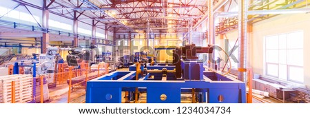 Fiberglass production industry equipment at manufacture background #1234034734