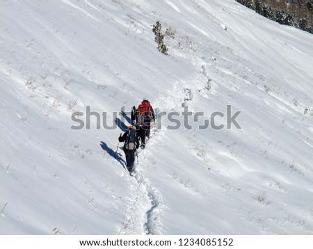People in the mountains in the snow. Climbers in the mountains. #1234085152