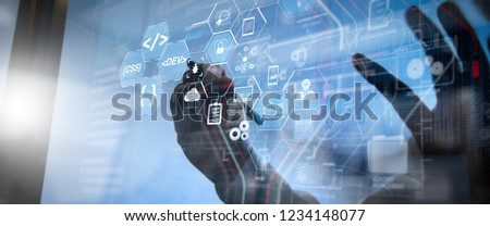 Coding software developer work with augmented reality dashboard computer icons of scrum agile development and code fork and versioning with responsive cybersecurity.success businessman working  #1234148077