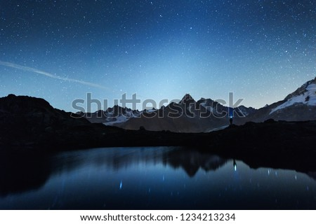 Picturesque night view of Chesery lake (Lac De Cheserys) in France Alps. Monte Bianco mountain range on background. Vallon de Berard Nature Preserve, Chamonix, Graian Alps. Landscape photography #1234213234
