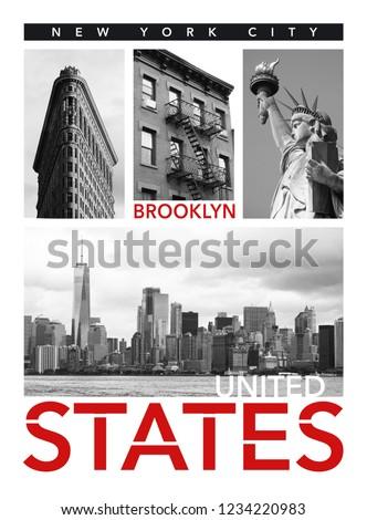 Photo print New York  Brooklyn typography, tee shirt graphics