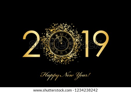 Vector 2019 Happy New Year background with gold clock on black #1234238242